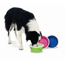 Silicone Dog Travel Bowl in Green