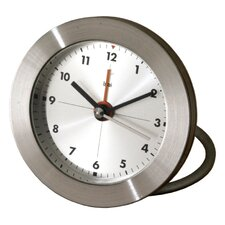 <strong>Bai Design</strong> Diecast Round Travel Alarm Clock with Arabic Numerals