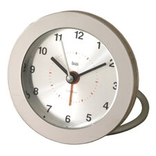 <strong>Bai Design</strong> Diecast Round Travel Alarm Clock in Silver