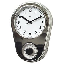 Retro Kitchen Timer Wall Clock in Chrome Silver