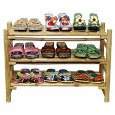 Natural Bamboo Folding Shoe Rack