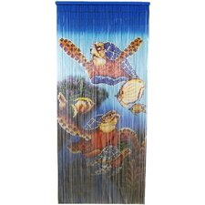 Natural Bamboo Large Turtle Scene Curtain Single Panel