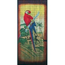 Natrual Bamboo Parrot Scene Curtain Single Panel