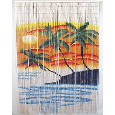 Natural Bamboo Triple Palm Tree Curtain Single Panel
