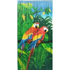 Natural Bamboo Double Parrot Scene Curtain Single Panel
