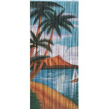 Natural Bamboo Palm Beach Serenity Scene Curtain Single Panel