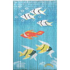 Natural Bamboo Fishes Curtain Panel