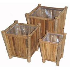 3 Piece Bamboo Square Planters Set
