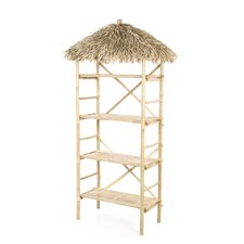 Natural Bamboo 3 Tier Shelf with Palapa Roof
