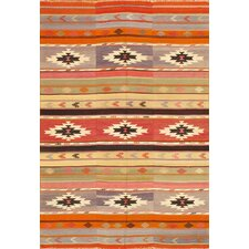 Kilim Multi-Colored Striped Medallion Rug