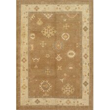 Oushak Light Brown All Over Pattern Rug