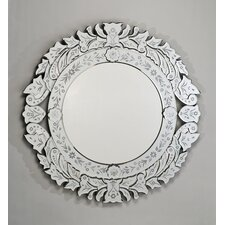 "Radiance 33"" Round Traditional Cut Glass and Wall Mirror"