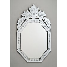 "Radiance 20"" X 32"" Octagon Traditional Cut Glass and Etched Mirror"