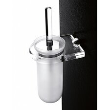 Wall-Mounted Toilet Brush Holder with Chrome Mounting