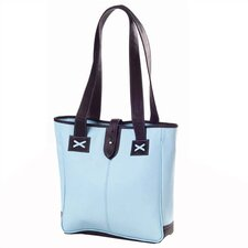 Colored Vachetta Small Open Tab Tote in Blue/Café
