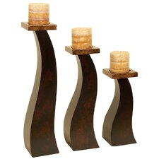 Metro Wood Candlesticks (Set of 3)
