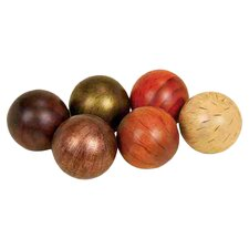 6 Piece Urban Trends Ceramic Decorative Ball Set