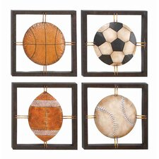 Cosmopolitian Ball Lovers Metal Wall Plaque (Set of 4)