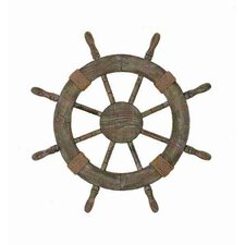 Urban Trends Nautical Wood Ship Wheel