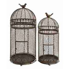 Rustic Metal Free Standing Bird Cages (Set of 2)