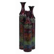 Rustic 3 Piece Cylindrical Vase Set