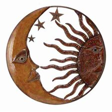 Rustic Antique Metal Sun Moon Wall Décor