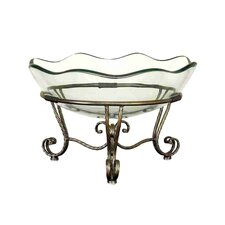 Toscana Glass Bowl in Bronze / Gold with Metal Stand