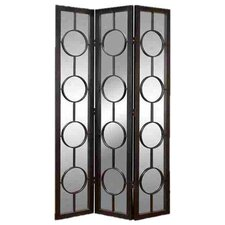 Urban Trends Wood Metal Glass 3 Panel Screen