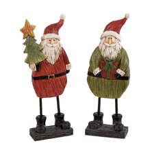 2 Piece Cheerfull Santa Figurine Set