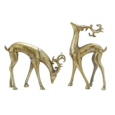 2 Piece Christmas Deer Statue Set
