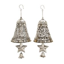 2 Piece Christmas Metal Bells with Star Ornament Set