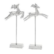 2 Piece Flying Deer Figurine Set