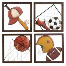 Loft Metal Baseball Décor (Set of 4)