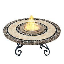 VioFlame Marble Top Fire Pit Table with Ethanol Burner