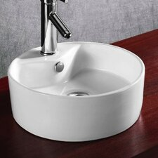 Ceramica Round Single Hole Vessel Bathroom Sink