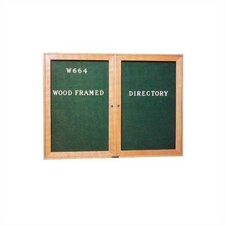"36""H x 48""Wide Wood Framed Directory with Glass Doors"