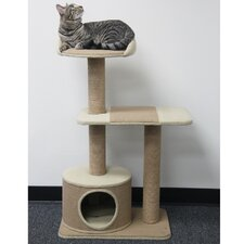 "39"" Recycled Paper Rope Cat Tree with Platform and Condo"