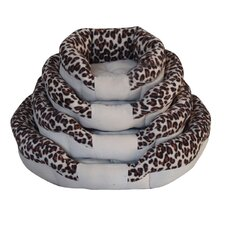 Bordered Animal Print Donut Dog Bed