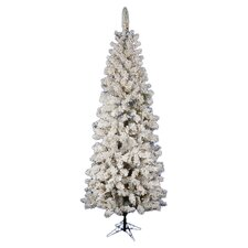 Flocked Pacific Pine 7.5' White Artificial Pencil Christmas Tree with 270 LED Lights with Stand