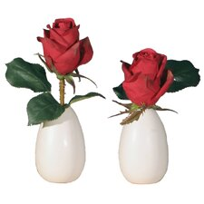 Floral Artificial Potted Rose Buds in Red (Set of 2)