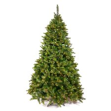 Cashmere Potted and Non Potted 7.5' Green Artificial Christmas Tree with 550 LED White Lights with Stand