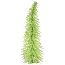 Colorful Whimsical 2.5' Green Artificial Christmas Tree with 35 Mini Green Lights with Stand