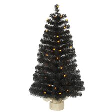 3.5' Black Pine Tree Artificial Christmas Tree with 50 LED Single Colored Lights