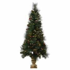 5' Pine Berry Cone Potted Artificial Christmas Tree with 150 Clear Lights