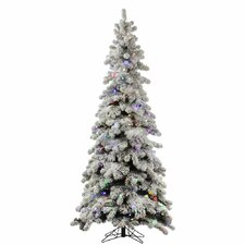 Flocked Kodiak 8' White Spruce Artificial Christmas Tree with 715 LED Multi-Colored Lights