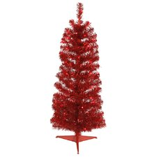 Colorful 3' Red Artificial Christmas Tree with 50 Single Colored Lights