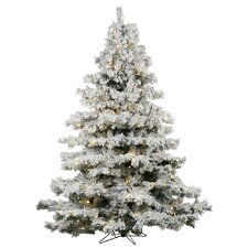 Flocked Alaskan 6.5' White Artificial Christmas Tree with 600 LED White Lights with Stand
