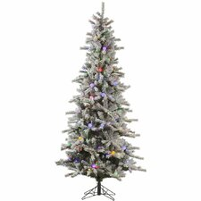 Flocked London Slim 7.5' White Artificial Christmas Tree with 455 LED Multi-Colored Lights