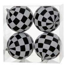 Glitter Check Ball Ornament (Set of 4)