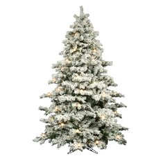 Flocked Alaskan 9' White Artificial Christmas Tree with 900 Dura-Lit and G50 Clear Lights with Stand